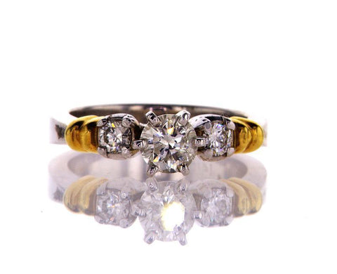 Diamond Engagement Ring 14k Yellow Gold Natural Round Cut 0.90 CTW G-H SI2