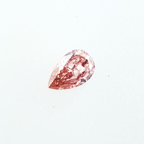 GIA Certified Natural Pear Cut Fancy Orangy Pink Diamond 0.26 Carats SI2 Clarity