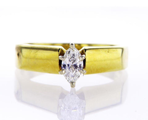 14k Yellow Gold Ring Marquise Cut Diamond Solitaire Engagement Ring F VS2