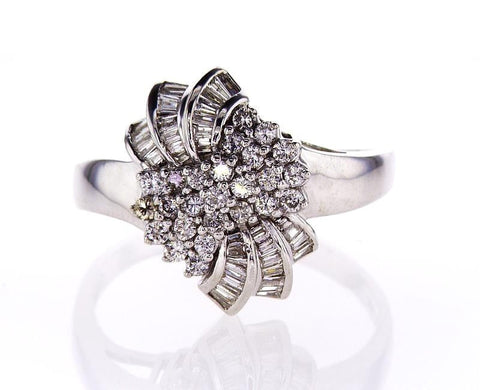 Beautiful Estate Ring Certified 14k White Gold Round Brilliant Diamonds 3.50 CTW