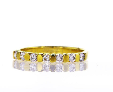 Diamond Wedding Band Women's 14k Yellow Gold Natural Round Cut 0.32 CTW G SI1
