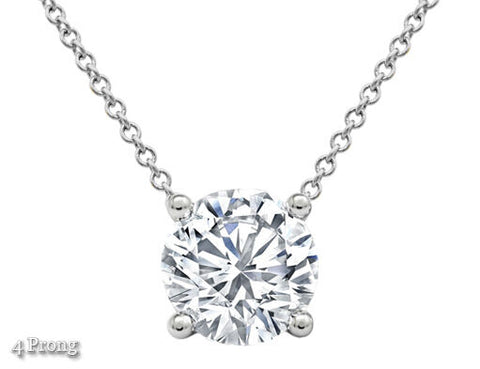 Diamond Pendant Necklace Solitaire Natural 1 CTW Round Cut Solid 14k White Gold