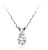 0.50 CTW Diamond Solitaire Pendant Pear Cut Solid 14k White Gold Necklace VS2
