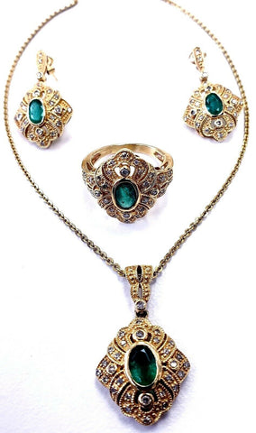 Women's Necklace Earrings Ring Set 14K Yellow Gold Natural Emerald Diamonds