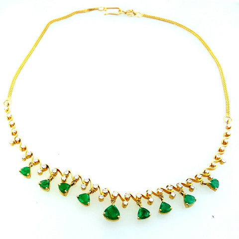 Colombian Emerald Necklace 14K Yellow Gold Natural Estate Diamond Chain $10,000