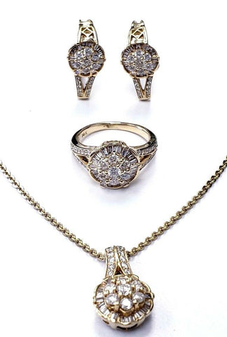 Women's Necklace Earrings Ring Set 14K Yellow Gold Natural Diamonds