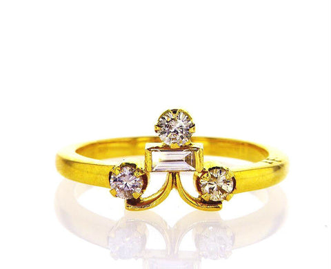 Genius Diamond Ring 18k Yellow Gold Natural Round Cut Stones Size 5.75