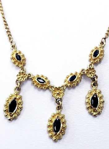 Women's Necklace Earrings Set 18K Yellow Gold Natural Sapphires 16'