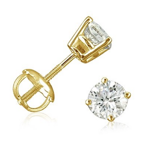 Diamond Stud Earrings 1CT Natural Round Cut J Color VS2 Clarity 14K Gold 5MM