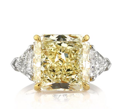 Huge 7CT Fancy Yellow Radiant Cut Natural Diamond Engagement Ring GIA Certified