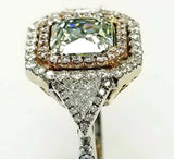 3CT Rare Natural Fancy GREEN PINK Color 18K Gold Diamond Ring GIA Certified