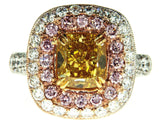 Beautiful 5CT Diamond Ring Natural Fancy Intense Yellow Pink Color GIA Certified