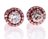 1 CT Diamond Studs Earrings 14K Rose Gold  GIA Certified Natural Round Cut
