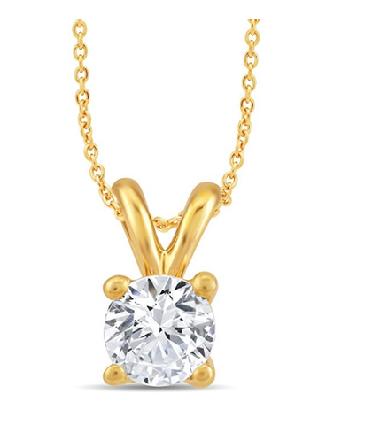 "Diamond Pendant 0.40 CT 18"" Necklace Women's Round G Color SI1 14k Yellow Gold"