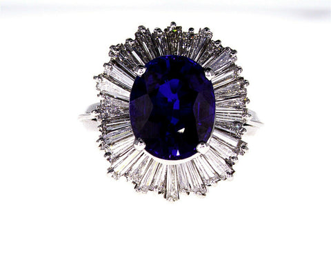 Oval Cut Blue Sapphire Diamond Ring 7.66 CT GAL Certified 14k White Gold Lady's