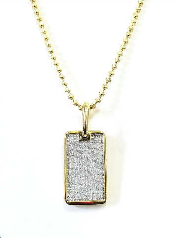 Diamond Gold Bar Necklace 14K Yellow Gold Princess Cut Tag Pendant 14.50 CTW
