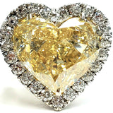 Huge Diamond Ring 13.84 CTW SI1 Natural Yellow Color Heart Shape Cut Certified
