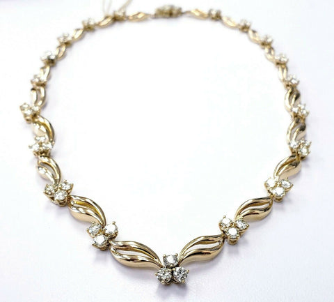 Ladies Chain Genuine Diamond Necklaces 7 CT Natural 14K Yellow Gold 16""