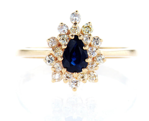 Certified 14k Yellow Gold Natural Pear Cut Blue Sapphire Diamond Ring 1 CTW