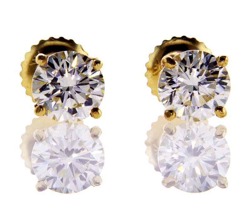 Natural Diamond STUDS EARRINGS 3CT 14k Yellow Gold Screw Back Round ... d1daac842