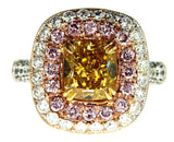 5CT VS2 Diamond Ring Fancy Intense Yellow-Pink Color GIA Certified Natural