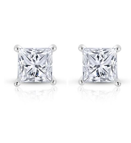 3/4 Diamond Earrings Princess cut Solitaire 14k White Gold Natural GIA Certified