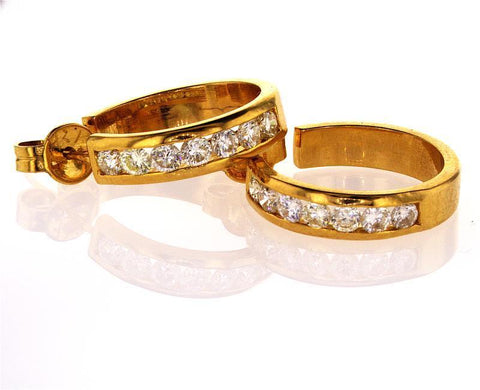 1 CT G-H /VS2 Guinness Hoop Diamond Earrings14k Yellow Gold Round Cut Brilliant