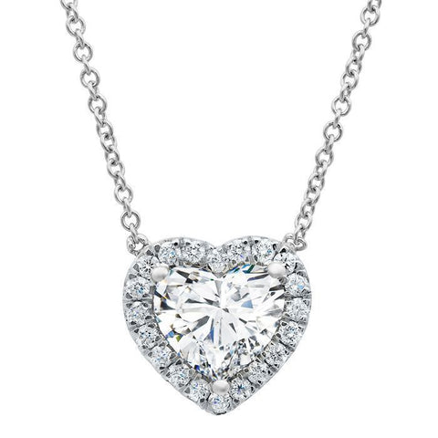 "0.70CT F/VS2 White Gold 14K Halo Pendant Heart Shape Cut Solid 18"" Inch Necklace"