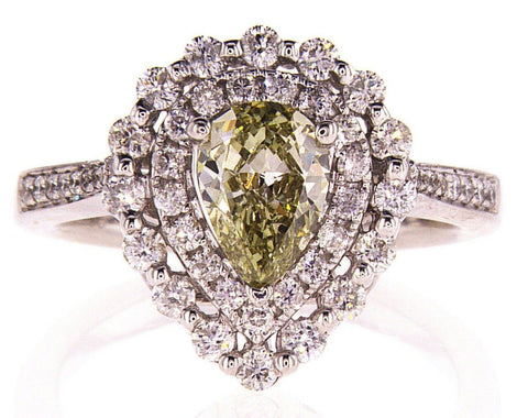 1.5CT Diamond Ring Natural Fancy Chameleon Color Pear Cut SI1 GIA Certified