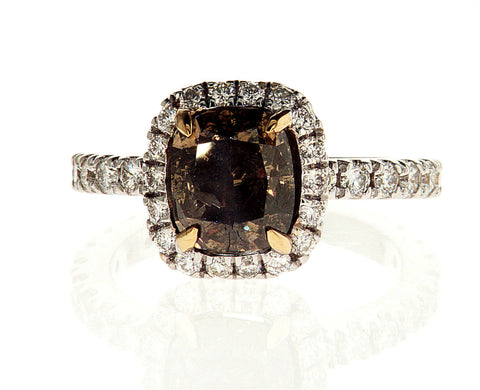 3CT Diamond Ring Natural Brown Color 18K White Gold GIA Certified Cushion Cut