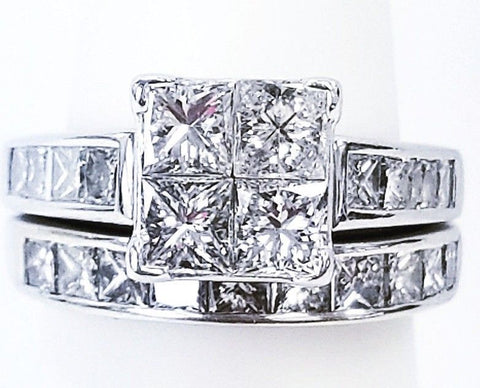 2.50 CT14K White Gold Natural Princess Cut Diamond Engagement Ring SET $6,000