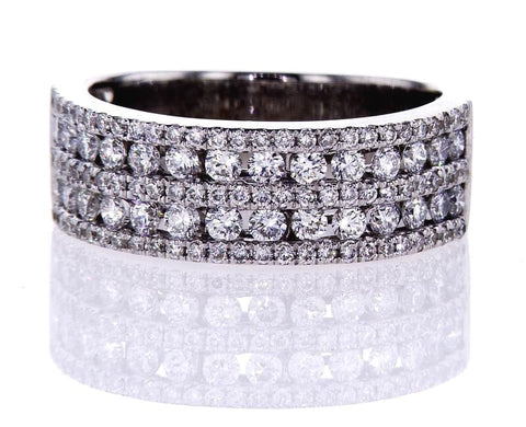 1.00 CTW F Color VVS2 Diamond Band Ring 18k White Gold Natural Round Brilliant