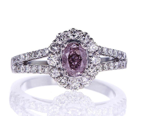 1.39 CT Natural Fancy Purplish Pink Color Diamond Ring GIA Certified Oval Cut