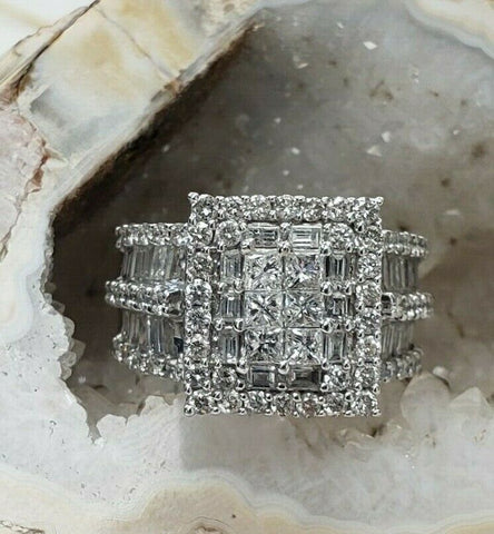 Diamond Ring 2.50 CTW F Color SI2 Clarity 14k White Gold Princess Cut Size 7.5