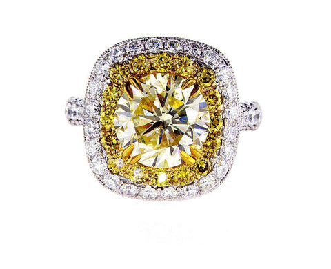 Natural Diamond Ring GAL Certified 6 CT K color SI3 Clarity Round Cut