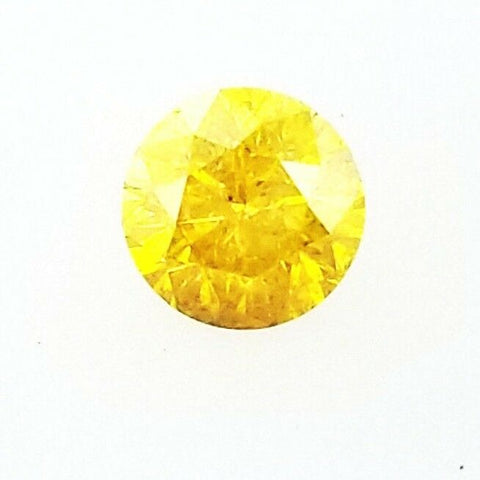 Fancy Vivid Yellow Color 0.41 Carats I1 Natural Round Brilliant Loose Diamond