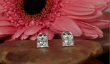 1CT H/VVS2 Studs Earrings Natural Diamond Certified 14k White Gold Princess Cut