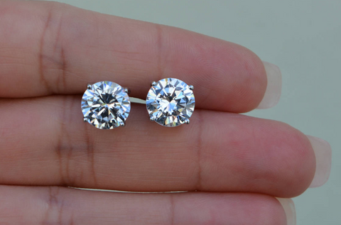 1 CT Studs Earrings 14K Natural Round Cut Diamonds Matched Pair GIA Certified