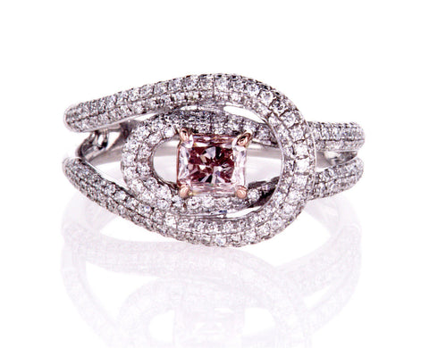 GIA Certified Natural Brilliant FANCY PINK Radiant Diamond Ring 1.50 CT 18K Gold