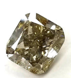 5 CT Natural Loose Diamond Fancy Brown-Yellow Petrol Color Cushion Cut GIA