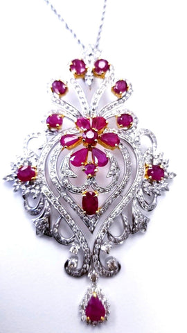 4 CT Necklace Natural Red Ruby Diamond Pendant and Earrings 14K Gold Guinness