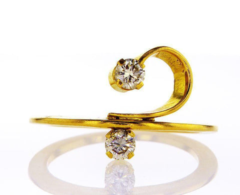 Diamond Ring Natural Round Cut 0.28 CTW F Color SI1 Clarity 18k Yellow Gold