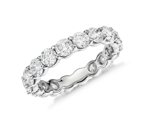 1.48 CTW Eternity Band Ring Certified 14k White Gold Natural Round Diamonds