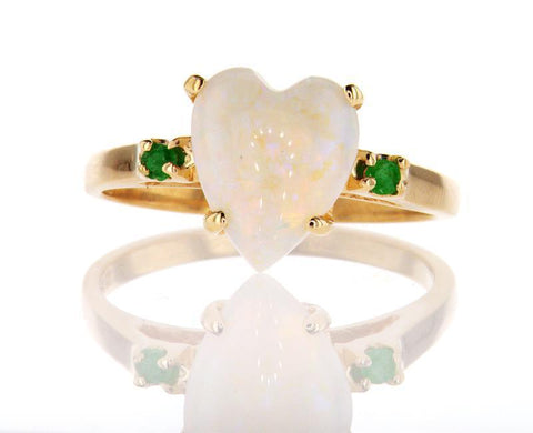 Opal Stone Heart and Emerald Engagement Ring 14K Yellow Gold Ring Retail $2,000