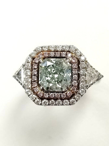 3 CT Rare Natural Fancy GREEN PINK Color Diamond Engagement Ring GIA Certified