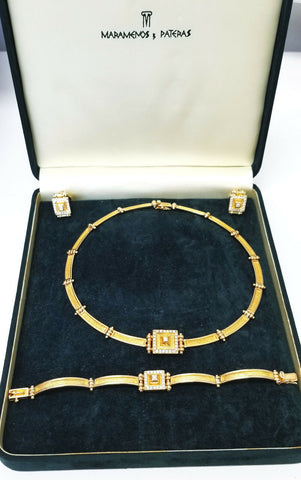 Maramenos & Pateras Necklace Earrings Ring Set Natural Diamond 18k Yellow Gold