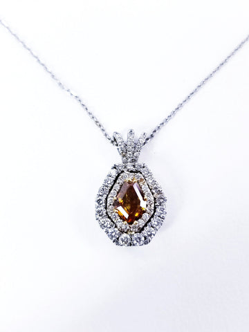 GIA Certified Fancy Vivid Brown Orange Natural Diamond Pendant necklace 18""