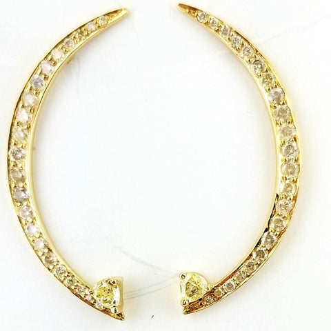 Natural White and Yellow Diamond Crescent Moon Earrings 0.70 CT 22k Yellow Gold