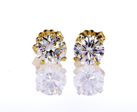 1 1/2 CT VVS2 Diamond Stud Earrings Natural Round Cut GIA Certified Yellow Gold