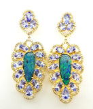 7.45 CTW Natural Diamond Opal and Tanzanite Earrings 22k Yellow Gold Certified